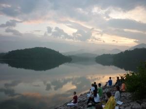Morning meditation by the lake